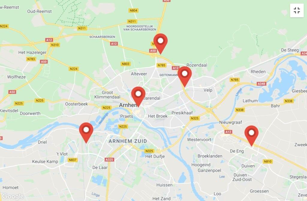 kaart corona test locaties